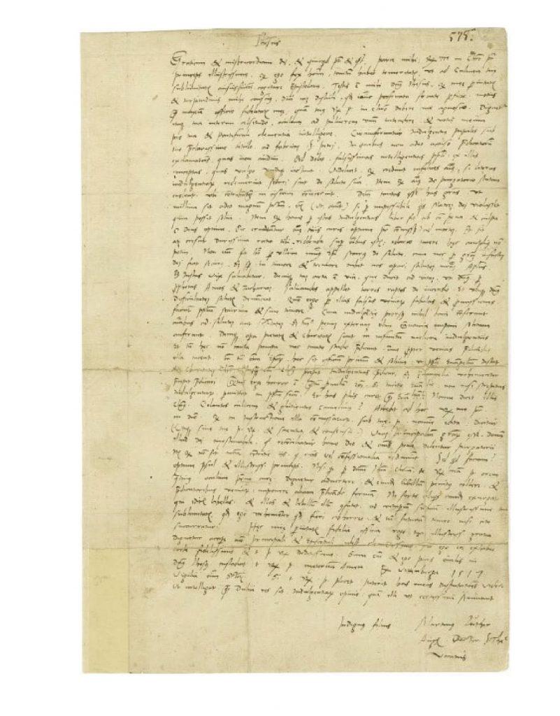 Originele brief aan de aartsbisschop, gedateerd 31 oktober 1517